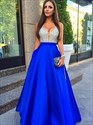 Royal Blue A-Line Deep V-Neck Beaded Bodice Prom Dress With Pockets