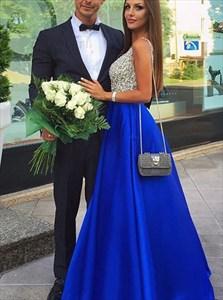 Royal Blue A-Line Deep V-Neck Beaded Bodice Prom Dress With Pockets