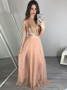Peach V-Neck  Sequin Bodice Tulle Prom Dress With Criss-Cross Straps