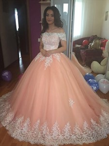 Sleeveless Off-the-Shoulder Court Train Tulle Lace Ball Gown Prom Dresses