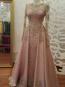 Beaded Lace-Applique Long Sleeves Floor-Length Tulle Prom Dresses