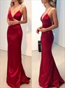 Red Spaghetti Straps V-Neck Floor Length Prom Dresses With Open Back