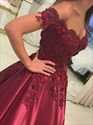 Off-The-Shoulder Beaded Lace Applique Satin Ball Gown Prom Dresses