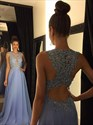 Lavender Chiffon Long Beaded-Bodice Prom Dress With Back Cut Out