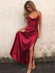 Burgundy Spaghetti Straps Split Prom Dress With Criss-Cross Straps