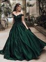 Emerald Green Ball Gown Off-The-Shoulder Lace Applique Prom Dresses