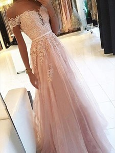 Pink A-Line Off-The-Shoulder Lace Applique Long Tulle Prom Dresses