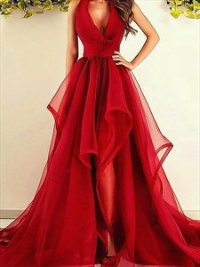 Red V-Neck Sleeveless Asymmetrical Ruffles Organza Prom Dresses