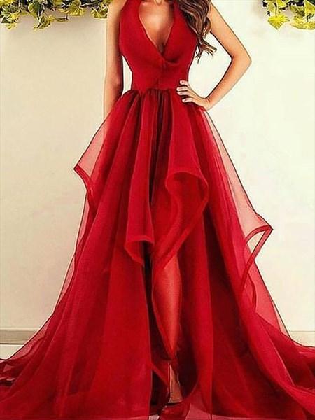Red V-Neck Sleeveless Asymmetrical Ruffles Organza Prom Dresses