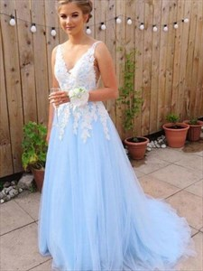 Sky Blue V-Neck Lace Applique Backless Long Tulle Prom Dress