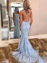 Sky Blue Mermaid Lace Applique Criss-Cross Straps Backless Prom Dress
