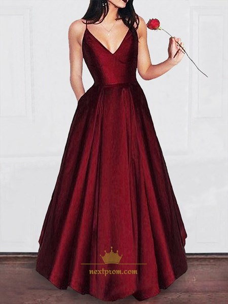 Burgundy Spaghetti Strap V-Neck Floor-Length Satin Prom Dresses