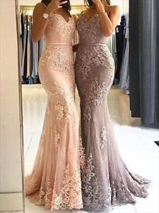 Mermaid Spaghetti Strap Lace Applique Embellished Tulle Prom Dresses