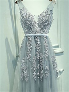 Grey V-Neck Beaded Lace Applique Backless Long Tulle Prom Dresses