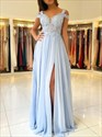 Sky Blue Chiffon Beaded Lace Applique Prom Dresses With Split Front