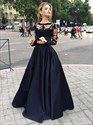 Navy Blue Illusion Lace Applique Satin Prom Dresses With Long Sleeves