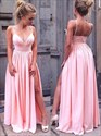 Pink V Neck Spaghetti Strap Ruched Prom Dresses With Split Front