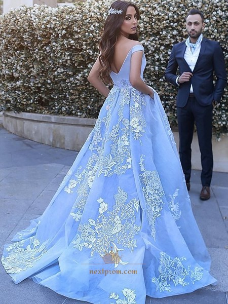 Blue Off-The-Shoulder Lace Applique Embellished Ball Gown Prom Dress